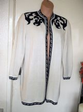 LADIES VINTAGE ELEGANT FINE KNIT JACKET CREAM NAVY TRICOVILLE LARGE SIZE 14